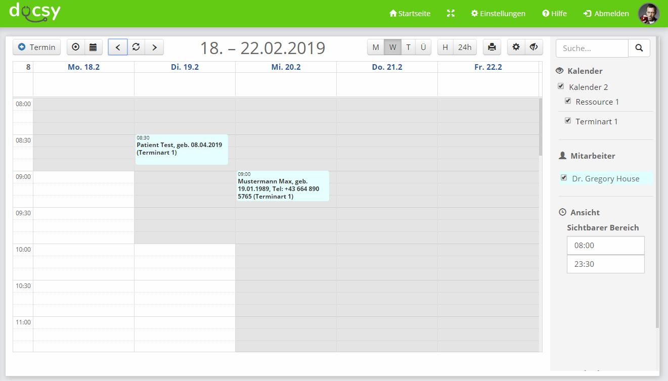 Screenshot Arztsoftware - Terminverwaltung